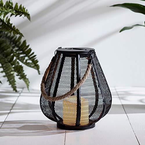 Lights4fun - Lanterna ad Energia Solare con Effetto di Rete e Candela LED