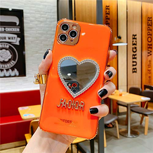 GGDK Luxurious Mirror Case for iPhone X/11/12 Pro MAX,Makeup Mirror Mobile Phone Case, Heart-Shaped Mirror Frame Protective Case Yellow For iPhone 11pro