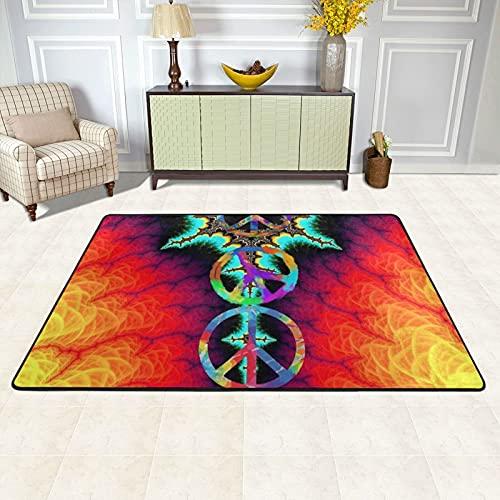 Alfombra de área para sala de estar, señal de paz, teñido, antideslizante, para decoración del hogar, dormitorio
