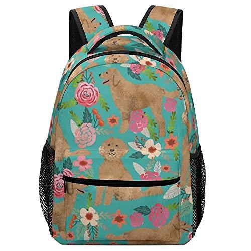 Mochila escolar Golden Doodle Floral Dog Backpack Adjustable Double Shoulder Sackpack For Teens Childrens Use For Travel, School Or Business 16.5inch Schoolbag Satchel