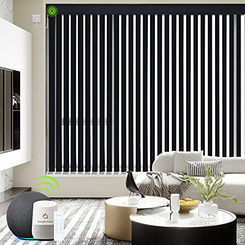 Yoolax Motorized Vertical Blinds Compatible with Alexa, Light Filtering Smart Window Blind Custom Size, Blackout Remote Electric Blinds with WiFi Power Motor for Sliding Glass Door (Black)