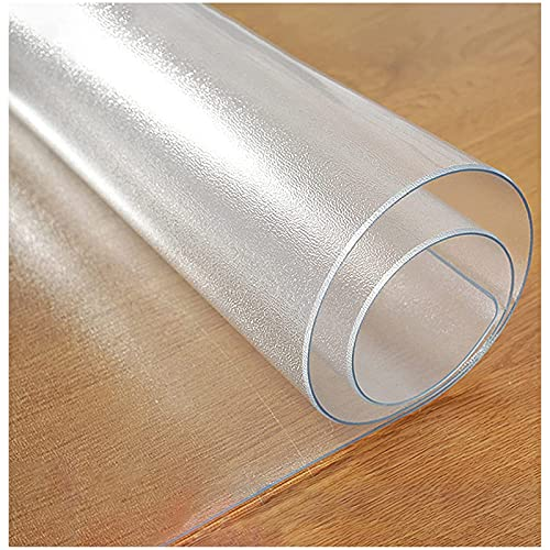 Protector De Cubierta De Mesa Transparente Mantel de PVC Protector de mesa transparente impermeable Cubierta de mantel de plástico transparente para cocina Mesa de comedor de oficina de café 1 mm(Co