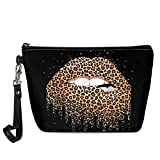 Poceacles Leopard Lip Print Toiletry Makeup Organizer Bag, Lightweight Travel Pu Leather Makeup Case with Wrist Strap, Girls Ladies Coin Purse