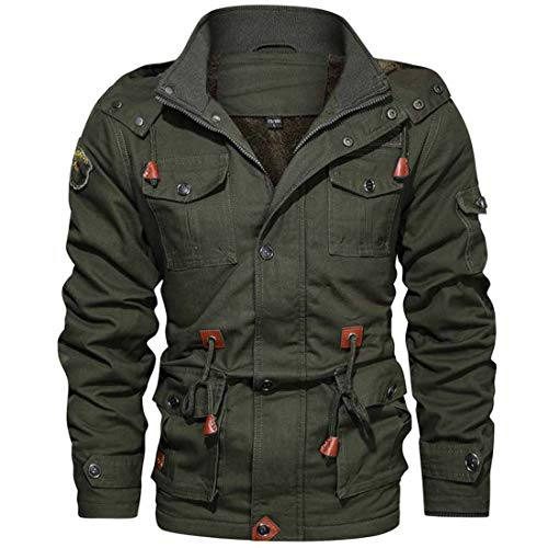 Yuyudou Mens Air Force Jack, Military Jack, Slim Fit Katoen Cargo Jack, Casual Warm Rits Jas Blazer Bovenkleding met Multi Pockets