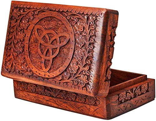 S.B.ARTS Premium Wooden Mini Jewellery Box Floral Design-Trinket Box for Ladies-Jewellery Storage Case-Antique Look-Traditionally Handcrafted-Home Decor Accessories-Ideal Gift for Women, Girls, Style4