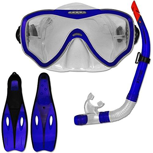 TW24 Tauchset Dunlop mit Farb- und Größenauswahl - Schnorchel Set - Tauchermaske - Schnorchel - Schwimmflossen (Blau, 38-39)
