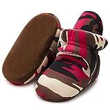 ISINSER Boys Girls Cotton Booties Cozy Fleece Winter Warm Socks Baby Booties for Newborns and Infants Camouflage Red