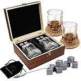 Juego de regalo de vaso de whisky, 8 piedras de vino de granito, 2 vasos de whisky, cuchara de acero inoxidable, posavasos, juego de piedras de enfriamiento reutilizables, regalo para hombres, padre