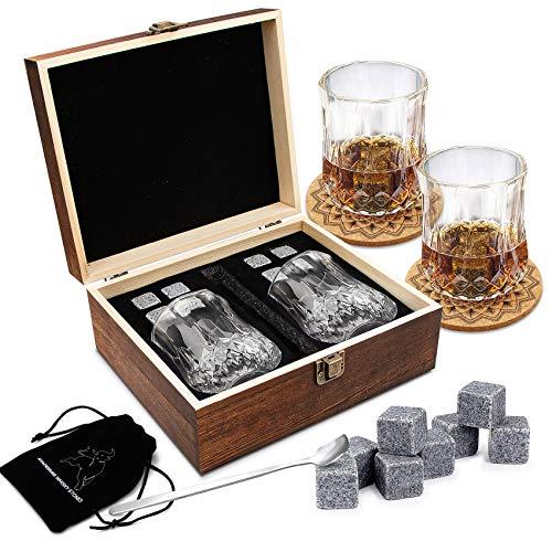 AYAOQIANG Whisky Stones Set da Regalo da Uomo di Pietre e Bicchieri di Whisky, Set di 8 Granito Cubetti di Ghiaccio Riutilizzabil, 2 Bicchieri da Whiskey, Whisky Pietre Set con Sottobicchieri.
