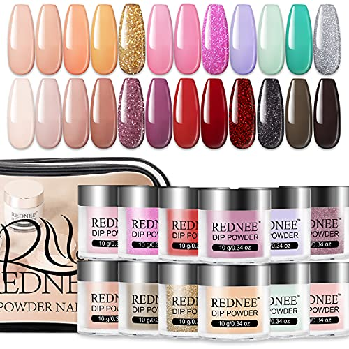 REDNEE Quick Dry Dip Powder Nail Kit Starter 24 Colors Nude Glitter New Advanced Formula Dipping System Gift Set RE14