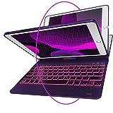 iPad Keyboard Case for iPad 2018 (6th Gen) - iPad 2017 (5th Gen) - iPad Pro 9.7 - iPad Air 2 & 1 - Thin & Light - 360 Rotatable - Wireless/BT - Backlit 10 Color - iPad Case with Keyboard (Violet)