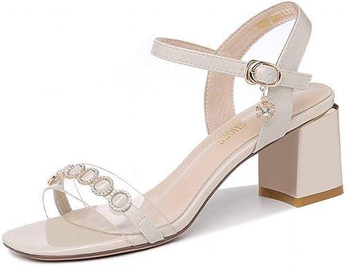 LTN Ltd - sandals Sandalias de Tacón Grueso, Albaricoque, 36