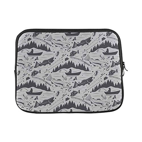 INTERESTPRINT Laptop Protective Sleeve Waterproof Case Bag Fishing Pattern Carrying Case Cover 15.4 Inch 15.6 Inch
