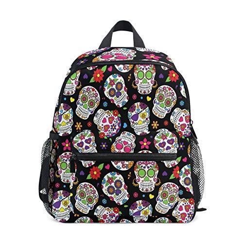 AUUXVA Kids Backpack Mexican Skull Printed Flower Toddler Shoulder Travel Elementary School Bags Preschool for Girls Boys