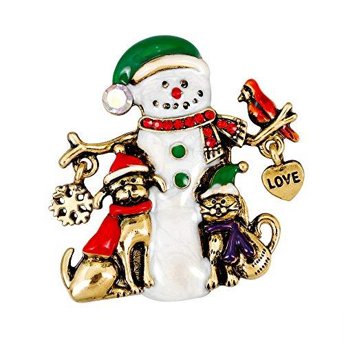 YAZILIND Rhinestone Christmas Breastpin Corsage Snowman Puppy Dog Brooch Pins Women Girls Xmas Jewellery Gift