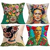 Pintor mexicano, adecuado para Frida Kahlo, juego de almohada inspirado en la cabeza del artista de 45x45 CM para sofá cama