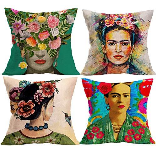 Mexikanische Malerin, geeignet für Frida Kahlo, 45x45CM Schlafsofa Kissenbezug Künstlerin Kopf inspiriert Kissen Set
