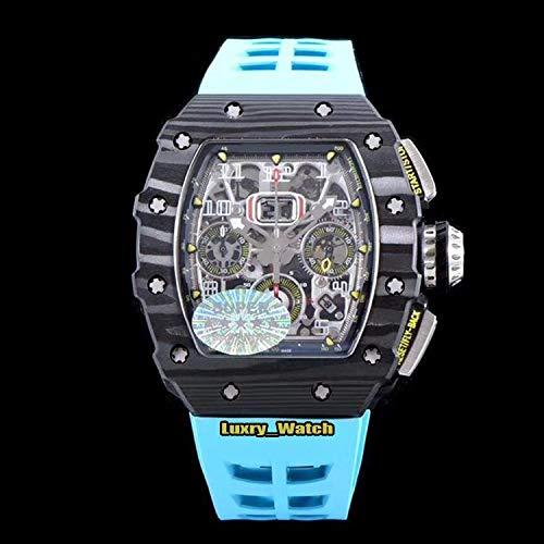 JFfactory Reloj estrenar Skeleton Flyback automático para Hombre NTPT Caja de Fibra de Carbono Relojes de Caucho Rojo Amarillo Cristal de Zafiro Azul Trasero