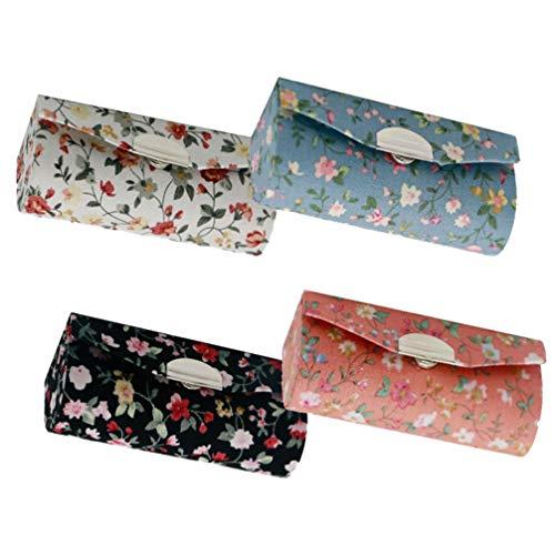 Lurrose 4 Pcs Étui à Rouge à Lèvres Floral Support de Rouge à Lèvres avec Miroir Tissu Tissu Brillant Boîte de Rangement pour Sac à Main