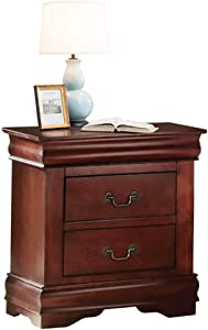 SSLine Cherry Finish Nightstand with 2 Drawers Vintage Wood Bedside End Table Traditional Bedroom Storage Chest Tables w/Retro Drawer Handle -Delivered Fully Assembled