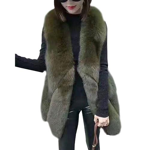 4985e988f8a Womens Vest Coat Chic Fox Faux Fur Casual Gilet Sleeveless Jacket Top  Outwear Long Waistcoat