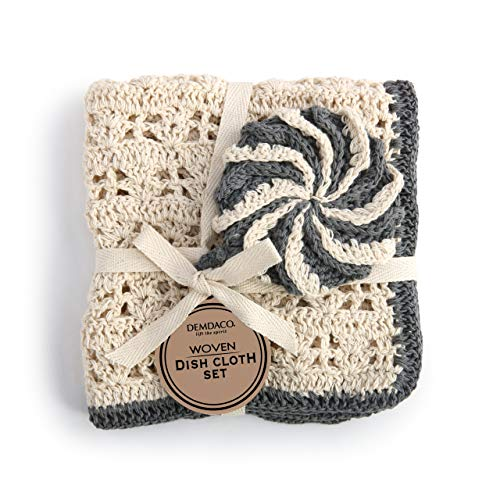 Woven Crochet Neutral and Black 4 x 4 Cotton Fabric Dish Cloth and Scrubber Set