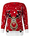 Fashion Valley - Pull Fantaisie Noël Femme tricoté Rudolph Le Renne - S/M 36/38, Rouge Rudolph
