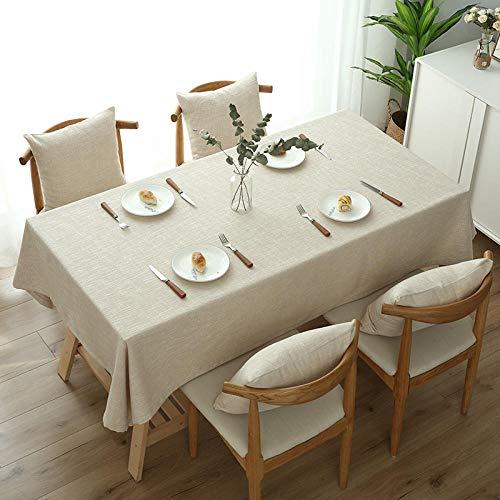 ZXCN Moderno Mantel Rectangular Cocina Lino de Algodón Grueso Lavable Manteles Resistente Al Desgaste Elegante Beige 100×160cm