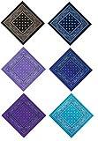 DAUCO 6Pezzi FasciaBandane Multicolori per Cappelli,Bandana per Capelli, Collo,Testa,Sciarpa Fazzoletti da Taschino,Disegno Paisley
