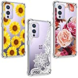 (3 Pack) Case for oneplus 9, Shock-Absorption Anti-Scratch Crystal Clear Soft TPU Slim Bumper Protective Phone Case Cover for oneplus 9, Flower