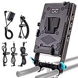 KOCACKOO V-Mount Lock Battery Plate Power Supply Splitter Adapter with 15mm Rod Clamp + LP-E6 Dummy Battery for BMPCC 4K/6K、DSLR RED Cameras、Camcorders、Canon 5D2/5D3/5D4/6D/6D2/7D/7D2/70D/80D/5DSR