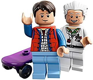 LEGO 21103 minifigures of the iconic DeLorean time machine, Dr. Emmett Doc Brown and Marty McFly
