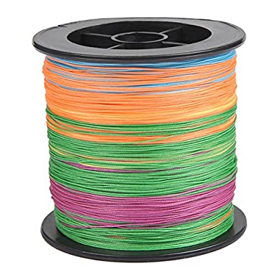 TIMESETL 8 Strand PE Braided Fishing Line Zero Stretch Fish Line 53lb 0.37mm 328 Yards 5 Colored Fishing Wire for Deep Sea Saltwater Freshwater Thick Grass from TIMESETL