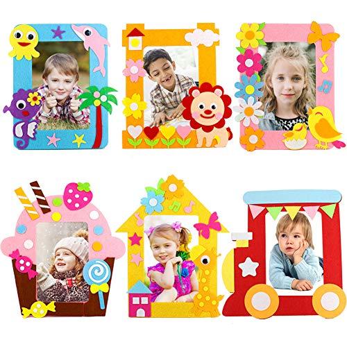 Yuccer Bastelset Kinder, 6 PCS Bilderrahmen Set Bilderrahmen zum Selbstgestalten Kindergeburtstag Gastgeschenke für Mädchen