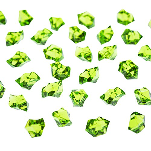 Acrylic Color Ice Rock Crystals Treasure Gems for Table Scatters, Vase Fillers, Event, Wedding, Arts & Crafts, Birthday Decoration Favor (190 Pieces) by Super Z Outlet (Apple Green)