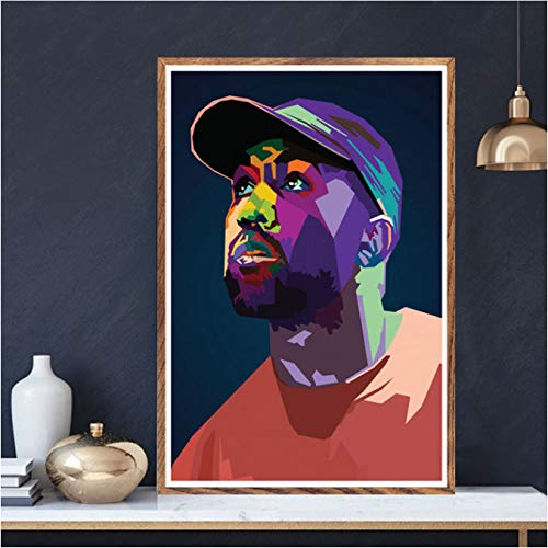 Qiufangguo art schilderij Mac Miller Kanye Juice Wrld Ski Masker Lil Peep Rap Stars Poster afdrukken muur foto's voor de woonkamer decoratie thuis 50 x 70 cm zonder lijst