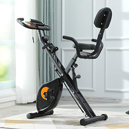 Kicode 3-in-1 Folding Exercise Bike with 8-Level Adjustable Magnetic Resistance, Upright Stationary Fitness Bike Cycle with Advanced Arm Resistance Bands Extra-Large Comfortable Seat Cushion for Home