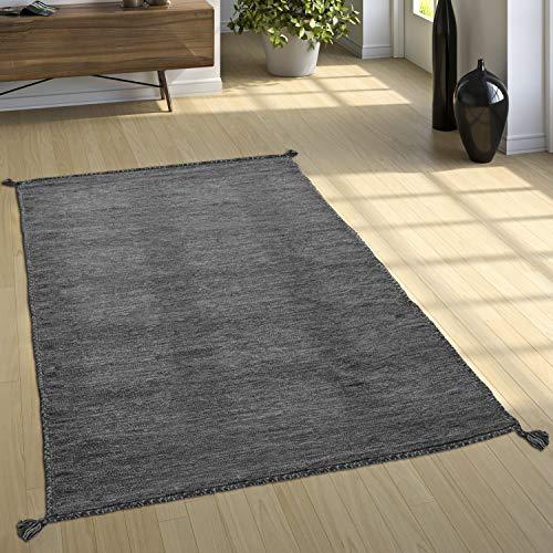Paco Home Designer Teppich Webteppich Kelim Handgewebt 100% Baumwolle Modern Meliert Grau, Grösse:80x150 cm
