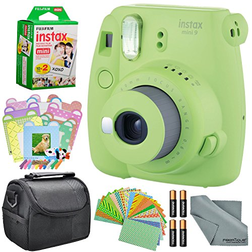 Fujifilm Instax Mini 9 Instant Film Camera (Lime Green) and Accessory Package w/Frames + Stickers + Case + More