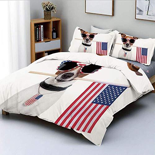 Juego de funda nórdica, perro americano con la bandera de EE. UU. Y gafas de sol sombreadas Aniversario Independence Liberty Juego de cama decorativo de 3 piezas con 2 fundas de almohada, el mejor reg