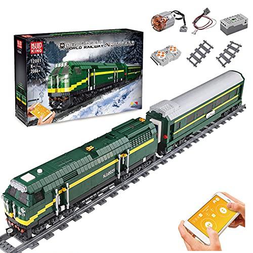 WANZPITS NJ2 Locomotoras Diesel 12001 Kit; Modelo De Tren De Trenes De Pista Retro Verde Adecuado para Regalos De Cumpleaños para Niños Grandes Que Aman La Escena del Tren De Carga,(2086 Pieces)