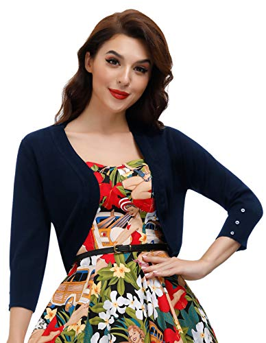 Belle Poque Womens 3/4 Sleeve Bolero Shrug Open Front Knit Cropped Cardigan(Navy Blue L)