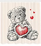 LongTrade Doodle Shower Curtains Cortinas de baño Detailed Teddy Bear Drawing with Heart Instead of a Belly Floating Hearts, Fabric Bathroom Decor Set with Hooks Charcoal Orange 72x72 Inch