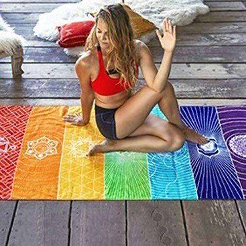 NOBRAND Regenboog strepen sjaal Bohemen muur opknoping deken zomer strand handdoek Yoga Mat,7 Chakra gekleurde tapijt Yoga Mat
