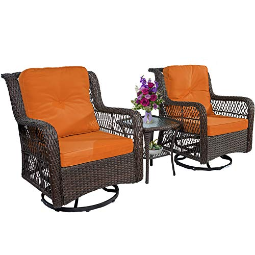 3-Piece Patio Furniture Wicker Rocker Swivel Chairs Outdoor Bistro Set, 2 Cushioned Patio Chairs & 1 Side Table for Outdoor or Indoor Use Porch Backyard Garden, Red