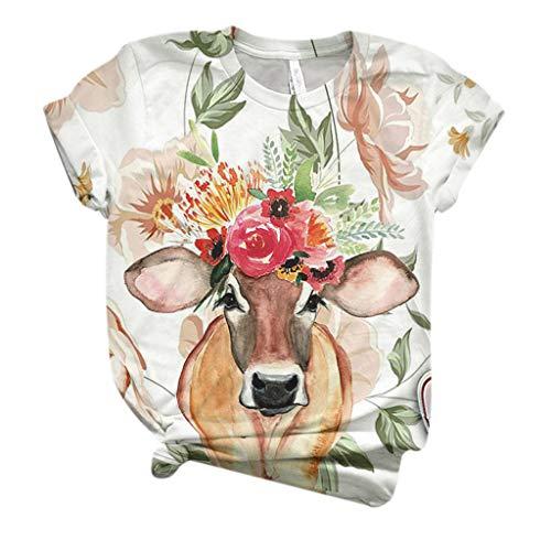 Lazzboy Store Streetwear Aufdruck Sweatshirt Beiläufig Damen Plus Size Frauen Kurzarm 3D Kuh gedruckt O-Neck Tops T-Shirt Bluse (Weiß,L)