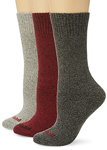 Timberland Damen 3-Pack Marled Full Cushioned Boot Socks Freizeitsocken, Rot/Mehrfarbig, Einheitsgröße