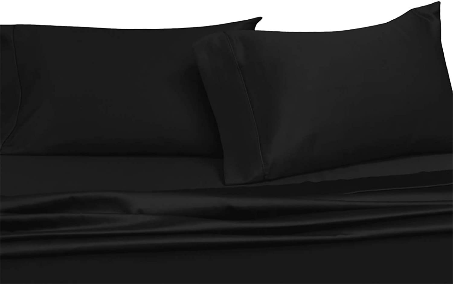 Sheetsnthings Super Deep Pocket Solid Black Queen Sheet Set 100% Cotton 600 Thread Count Fit up to 22 Inch Mattress