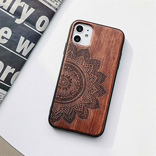 ZWQASP 3D Reale Rosewood Cover for iPhone PRO 11 Max X XR XS Max 7 8 Inoltre Retro Naturale di Legno Fiori Casse del Telefono (Color : Flowers, Material : for iPhone 7 Plus)