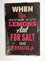 2個 人生があなたにレモンサインを与えるとき金属錫サインホームバーキッチンテキーラと塩を追加TS141 メタルプレート レトロ アメリカン ブリキ 看板